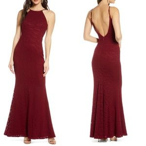 Lulu's Ephemeral Allure Lace Maxi Dress Open Back